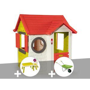 MAISONNETTE EXTÉRIEURE Cabane enfant My House - Smoby + Table et 2 chaise