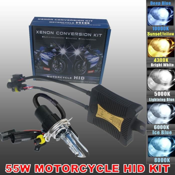 55W H4 H/L HID Bi-Xénon Ampoules Phares Lampe Kit à Décharge Headlight Lumière for Vélo moto moto Xenon Super White Blanc 10000K