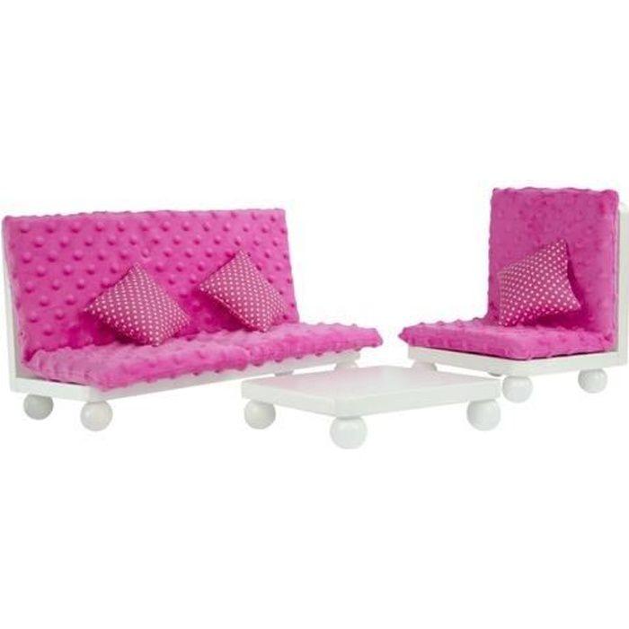 Salon avec canapé fauteuil et table base pour poupée ou poupon jouet Olivias Little World TD-11930A/B
