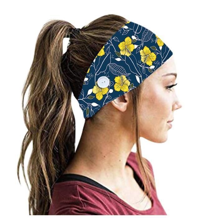 【HARNAIS DE TETE】3PCS Hommes Femmes Bandeaux Bandeau avec Boutons Running Yoga Bande de Cheveux Élastique - Multicolore184