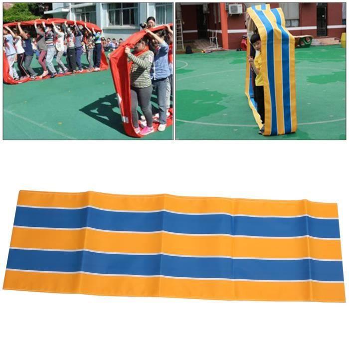 Tissu Oxford Jeux de travail d'équipe Activité de groupe Tapis de course amusant pour enfants adultes (bleu jaune 6 m)-YUW