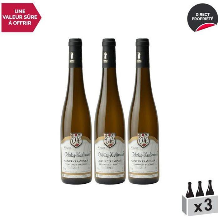 Alsace Gewurztraminer Vendanges tardives Blanc 2015 - Lot de 3x50cl - Domaine OSTERTAG-HURLIMANN - Vin AOC Blanc d' Alsace - Cépage