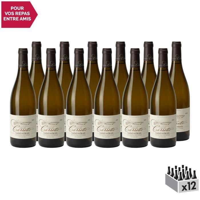 Saint-Véran Les Mures Blanc 2018 - Lot de 12x75cl - Domaine Carrette - Vin AOC Blanc de Bourgogne - Cépage Chardonnay