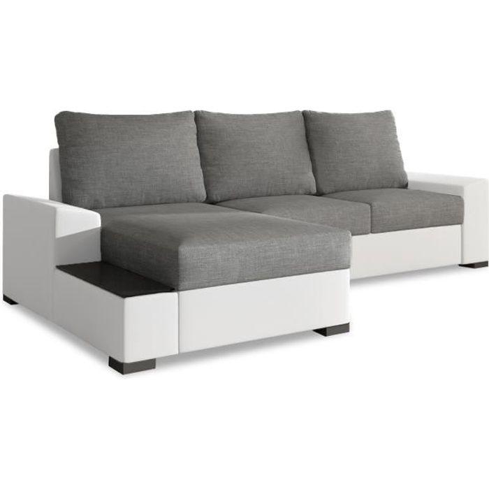 Canapé d'angle gauche convertible Gianni Gris et Blanc