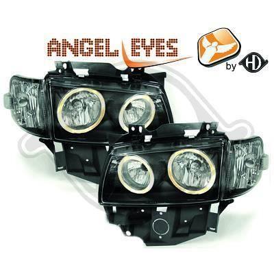2271380 , Paire de Feux Phares Angel eyes noir pour VW T4 Caravelle , Multivan de 1996 a 2003