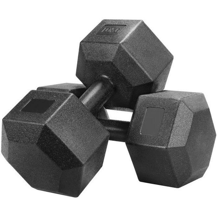 Yaheetech Lot de 2 Haltères Hexagone Chaque 10 kg Paire d'haltères Dumbbell Musculation Fitness Homme et Femme en Fer et PVC Noir