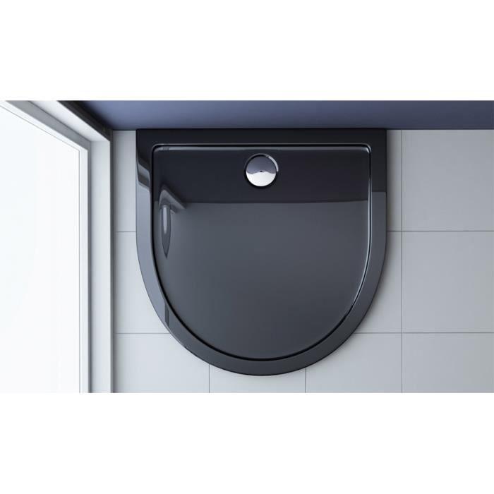 Receveur de douche bac à douche Sogood Faro4B acrylique noir plat en demi-cercle 90x90x4cm pour la salle de bain