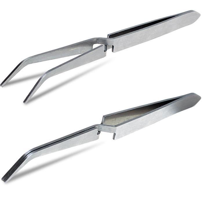 Pince à Pincher Fixation Pince pour Nail Art Faux Ongles Pointe Courbée Acier