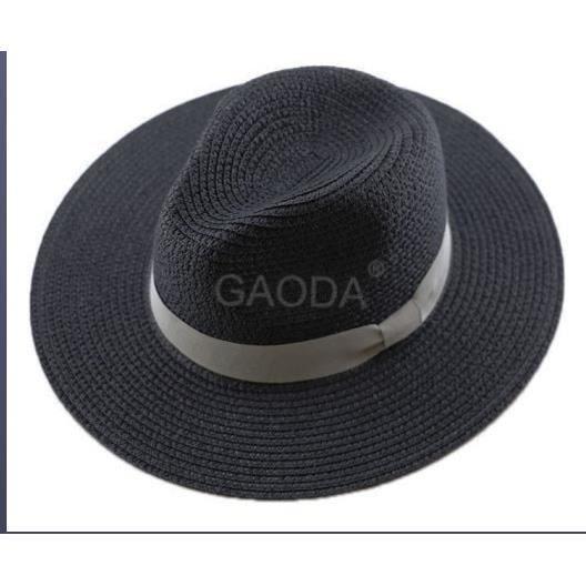 black 55-57cm -Chapeau de plage en paille pour hommes, grande taille, 55 57cm, 58 59cm, 60 62cm, 62 64cm