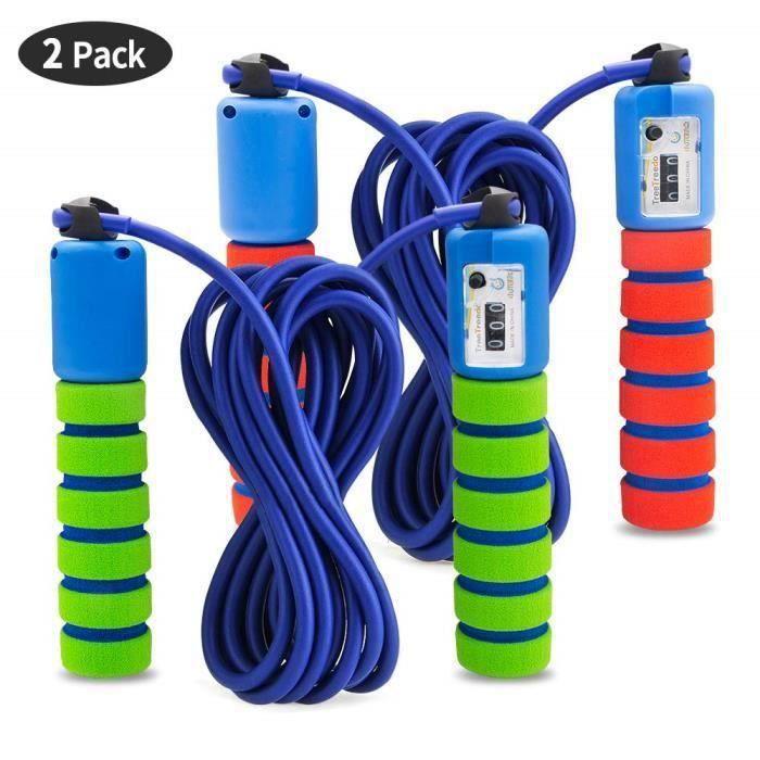 2 Pack Corde à Sauter Speed Rope Compteur intégré Réglable Câble pour Crossfit, Fitness, Boxe, Gym, MMA, Adulte My14670 Ma77717