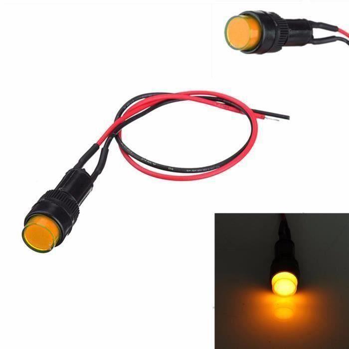 2x Universel Ampoule Tableau Bord LED 12V 10MM Jaune