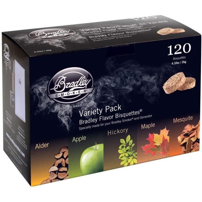 Bois de fumage Bradley Smoker BT5FV120 120 Lot de 120 bisquettes – Cinq Variations aromatiques 383