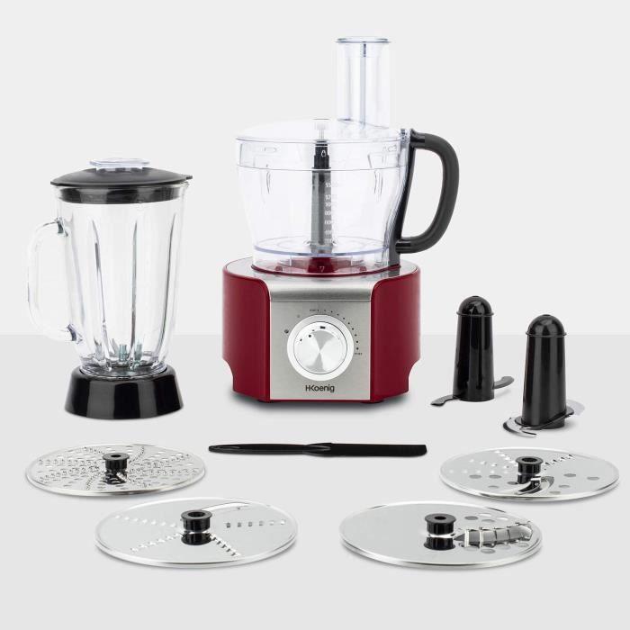 Robots multifonctionsH.Koenig Robot de cuisine Multifonctions MX18 Rouge Professionnel Compact, Bol mixeur 1.5L, Blender en verre61