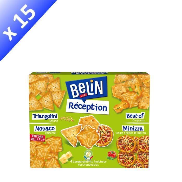 [LOT DE 15] BELIN Gateaux Apéritifs Boîte réception 4 saveurs 380 g