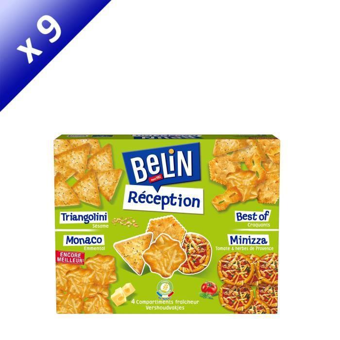 [LOT DE 9] BELIN Gateaux Apéritifs Boîte réception 4 saveurs 380 g