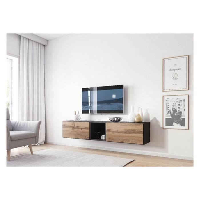 Meuble TV design CORO 10 - Gris et bois