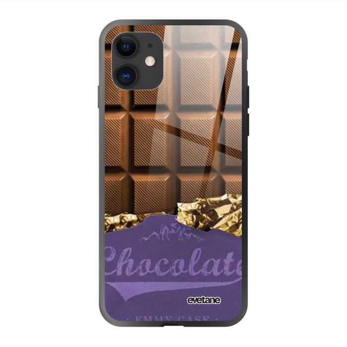 Coque iPhone 11 soft touch noir effet glossy Chocolat Design Evetane