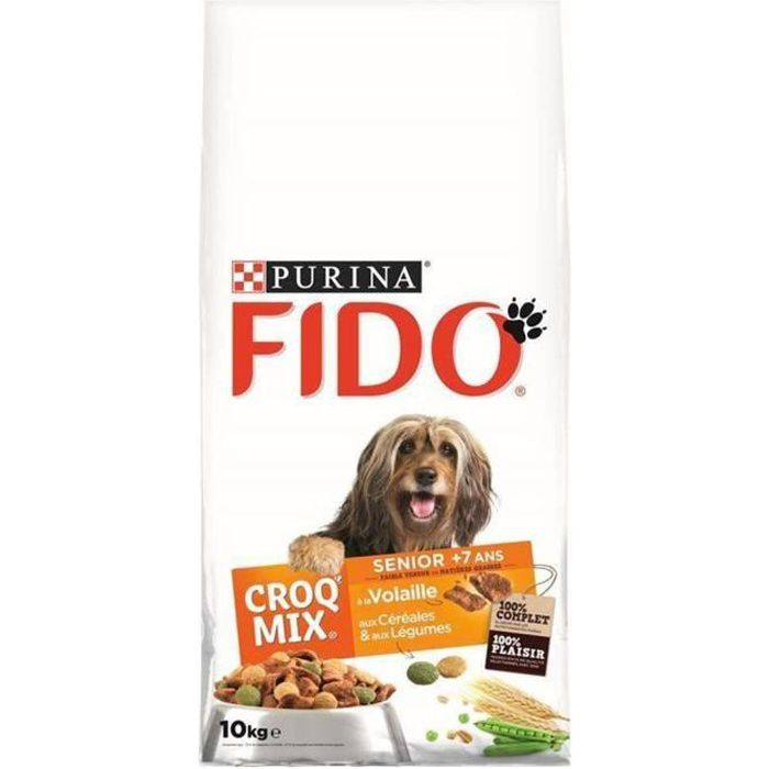 Fido Croquettes Croq Mix Chiens Sénior +7 Ans à La Volaille Céréales Légumes Grand Format 10Kg (lot