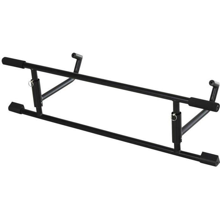 Barre de traction - barre de porte - pull up bar - barre d'étirement musculation pour cadres de porte - acier noir 102x25x35cm Noir