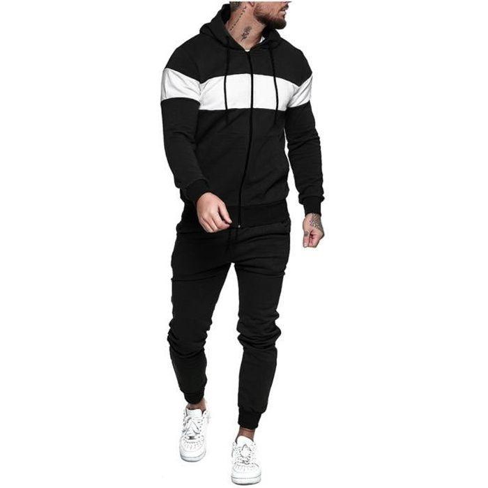 Hommes Automne Épissage Zipper Imprimer Sweat Top Pantalons Ensembles Survêtement Sport Suit Noir