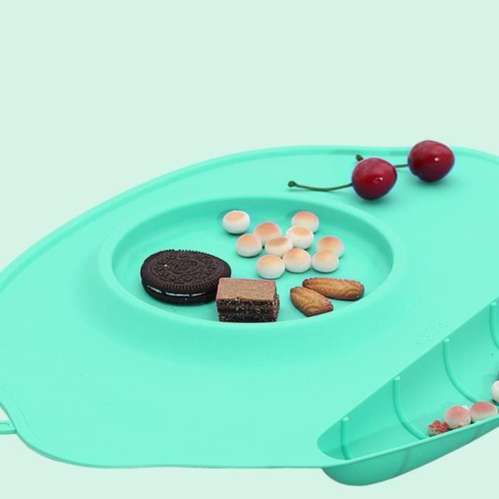 1 pc assiette ventouse plaque d'alimentation en Silicone vert Table table de placement bébé tapis de repas pour enfants BOL BEBE