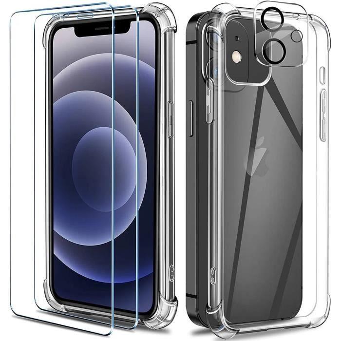 Coque iPhone 12 6.1- , [Pack de 2] Verre Trempé Protection écran + [Pack de 2] Verre Trempé Caméra Arrière Protecteur,Transparent
