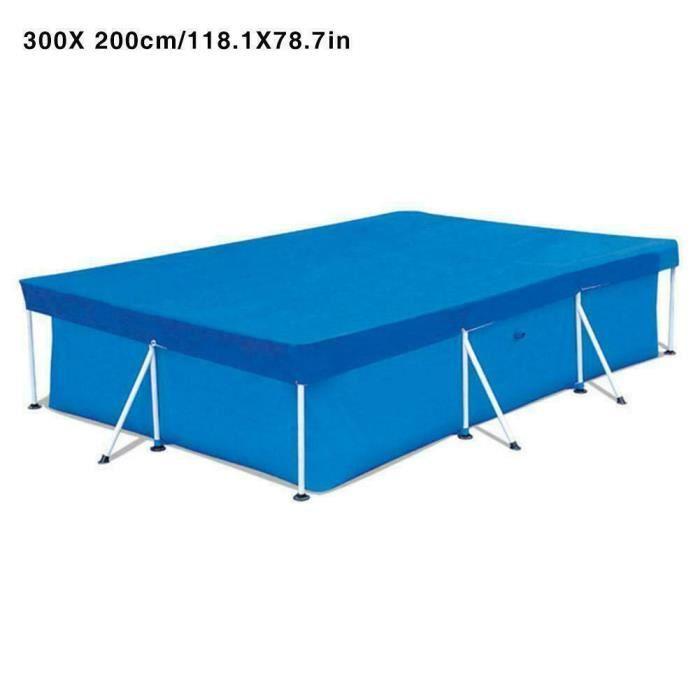 300cmx200cm Couverture de piscine imperméable UV Résistante à la poussière Couverture rectangulaire