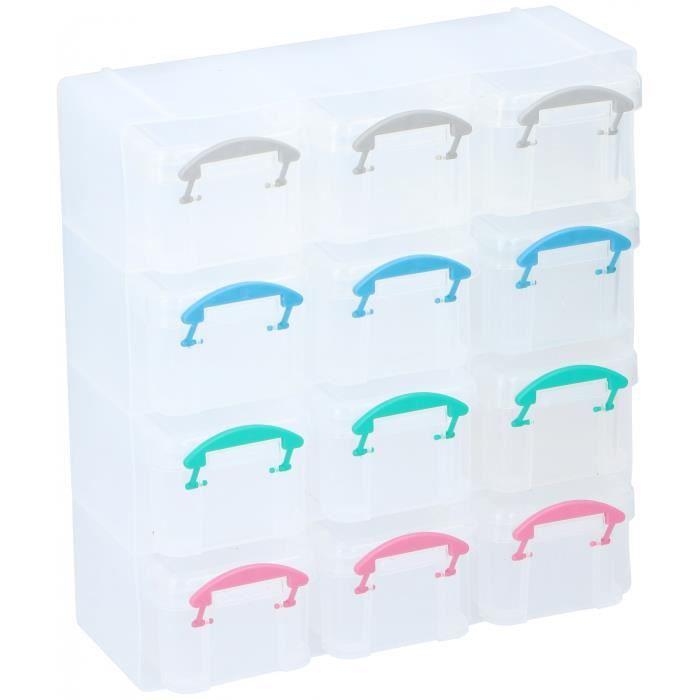 TOM boîte de rangement en polypropylène transparent 12 compartiments