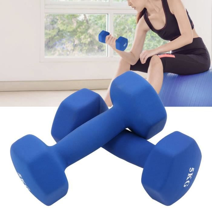 NOUVEAU 1 paire Haltères Hexagonale chaque 5kg/176.4oz d'haltères Dumbbell Musculation Bleu