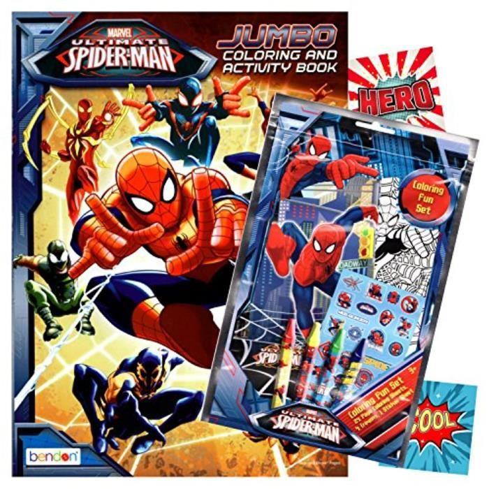 Jeu De Coloriage Id04s Spiderman Livre De Coloriage Avec Fun Set Coloring Book Crayons De Couleur Autocollants Achat Vente Livre De Coloriage Cdiscount