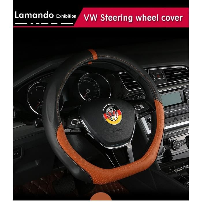d bague auto volant couvrir cuir volkswagen vw golf 6 golf 7 gti mk7 polo 2014 2015 auto. Black Bedroom Furniture Sets. Home Design Ideas