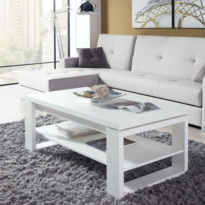 Table basse blanche relevable reena taille l 110 x l for Table basse blanche plateau relevable