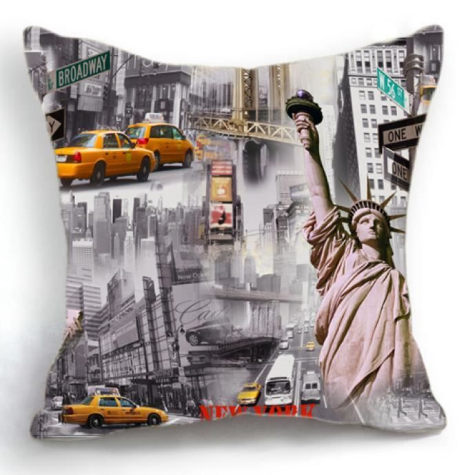 housse de coussin new york taxis jaunes 45x45 cm achat vente housse de coussin soldes. Black Bedroom Furniture Sets. Home Design Ideas