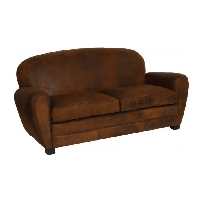 canap club microfibre vieillie chocolat 2 places convertible dossier rond achat vente. Black Bedroom Furniture Sets. Home Design Ideas
