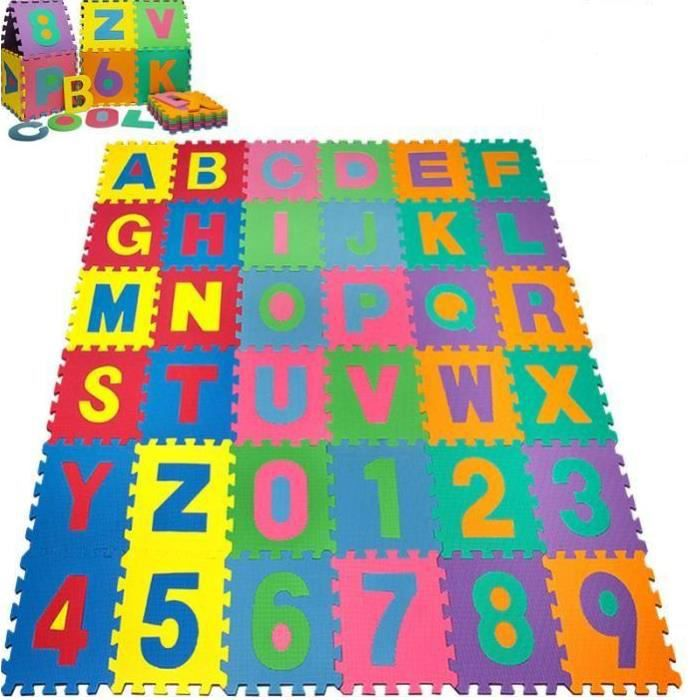 Puzzle Tapis Mousse 36 Pcs 32x32 Cm Jeu Educatif Enfants De