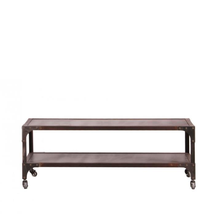 Table basse industrielle en m tal 120 dimensions 120 x 60 for Dimensions table basse