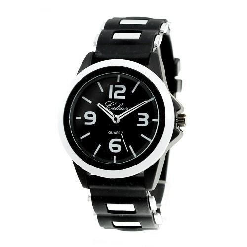 montre homme quartz bracelet silicone noir noir achat vente montre cdiscount. Black Bedroom Furniture Sets. Home Design Ideas