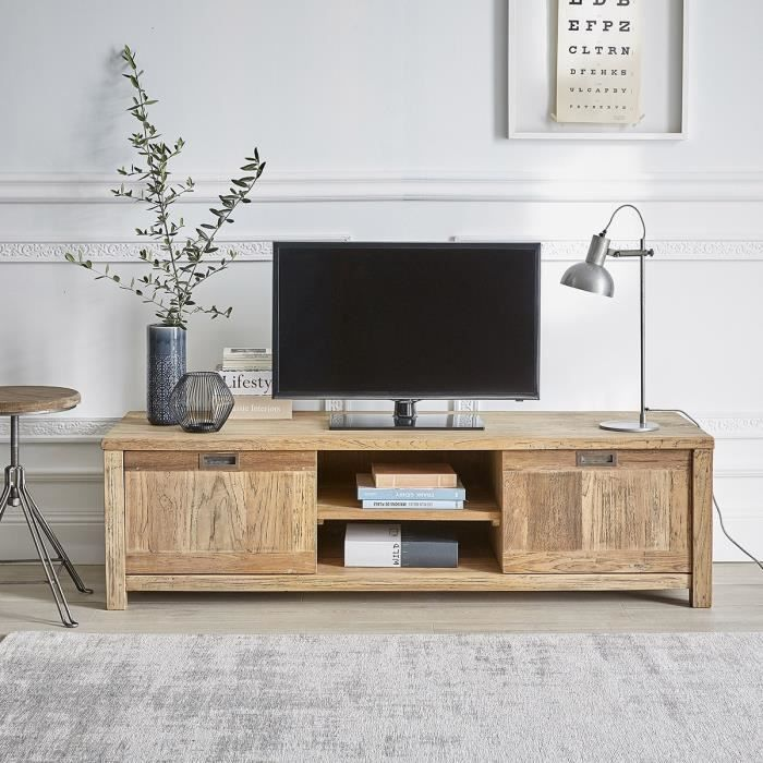meuble tv en teck recycle 160cm niches et portes achat vente meuble tv meuble tv en teck. Black Bedroom Furniture Sets. Home Design Ideas