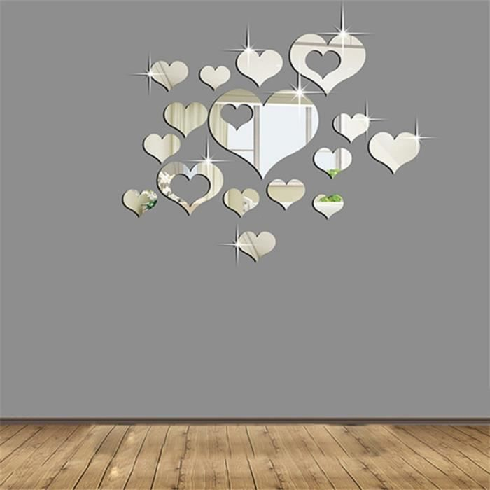 Diy 3d stickers coeurs argent miroir d coration 16pcs for Decoracion con espejos en paredes