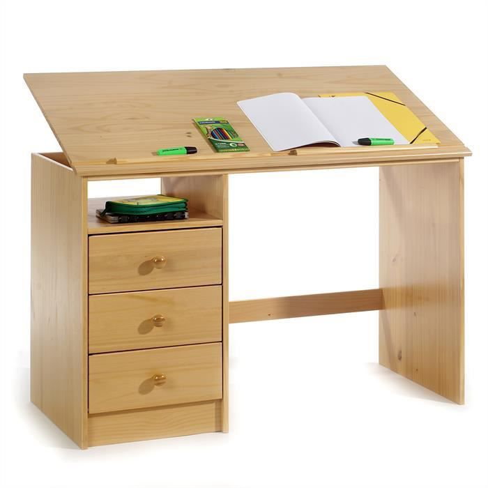bureau enfant 3 tiroirs lasur couleur h tre achat vente bureau bureau enfant 3 tiroirs las. Black Bedroom Furniture Sets. Home Design Ideas