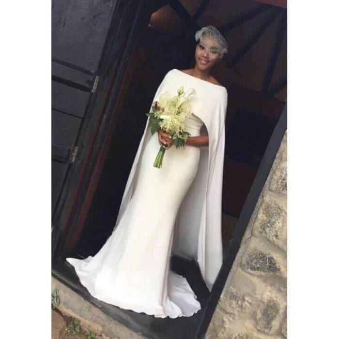 Robe de Mariage Trainée Sirène Col Bateau