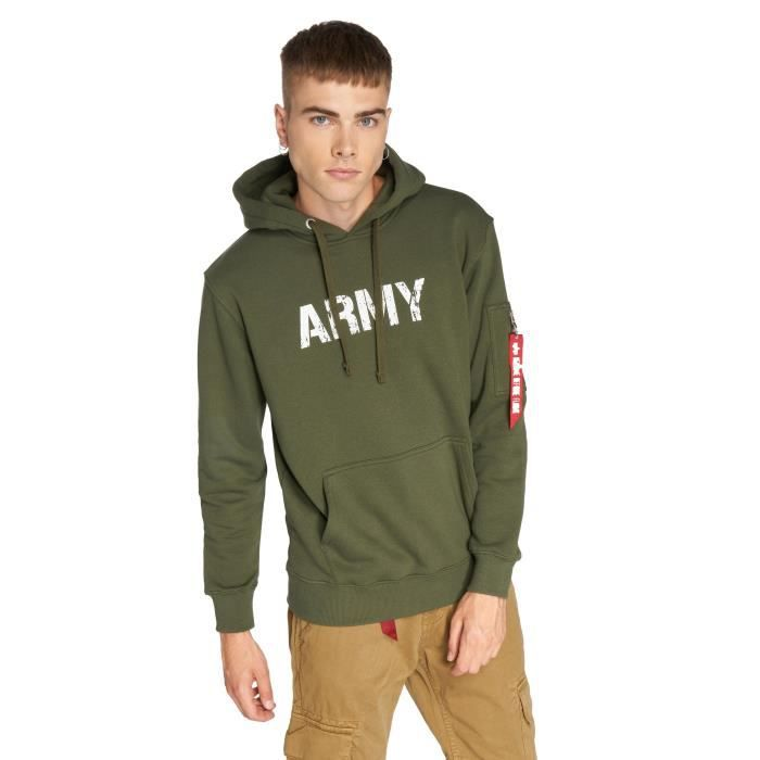 Alpha Industries Homme Hauts Sweat capuche Army Navy Vert