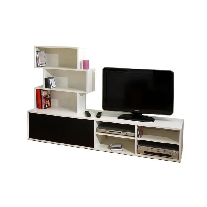 meuble tv tag res noir et blanc alicante achat. Black Bedroom Furniture Sets. Home Design Ideas