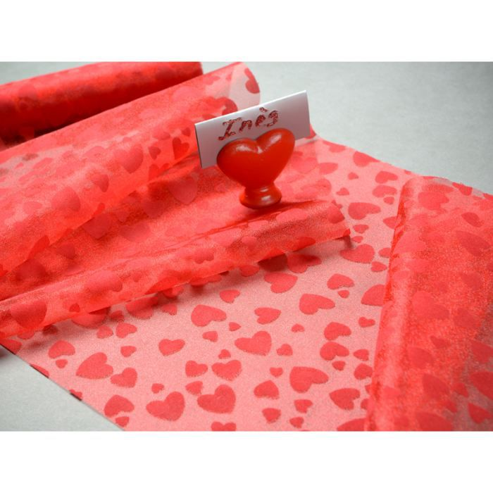 Chemin de table coeur rouge achat vente chemin de for Chemin de table rouge