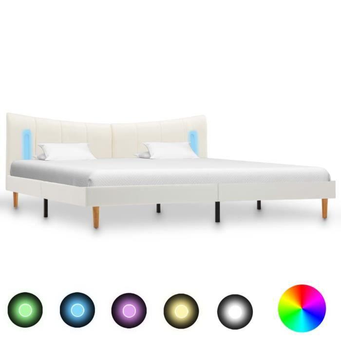 vidaXL Cadre de Lit avec LED Lit Rembourr/é Lit Double Lit Adulte Lit Coffre Sommier /à Lattes Chambre /à Coucher Maison Int/érieur Gris Similicuir 140x200 cm