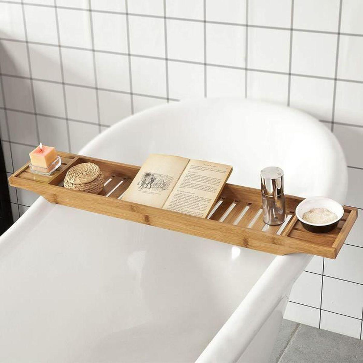 5,5 x 70 x 16,5 cm avec 3 compartiments pour le savon nature cr/ème bougie ou verre Relaxdays Pont de baignoire en bambou HxlxP