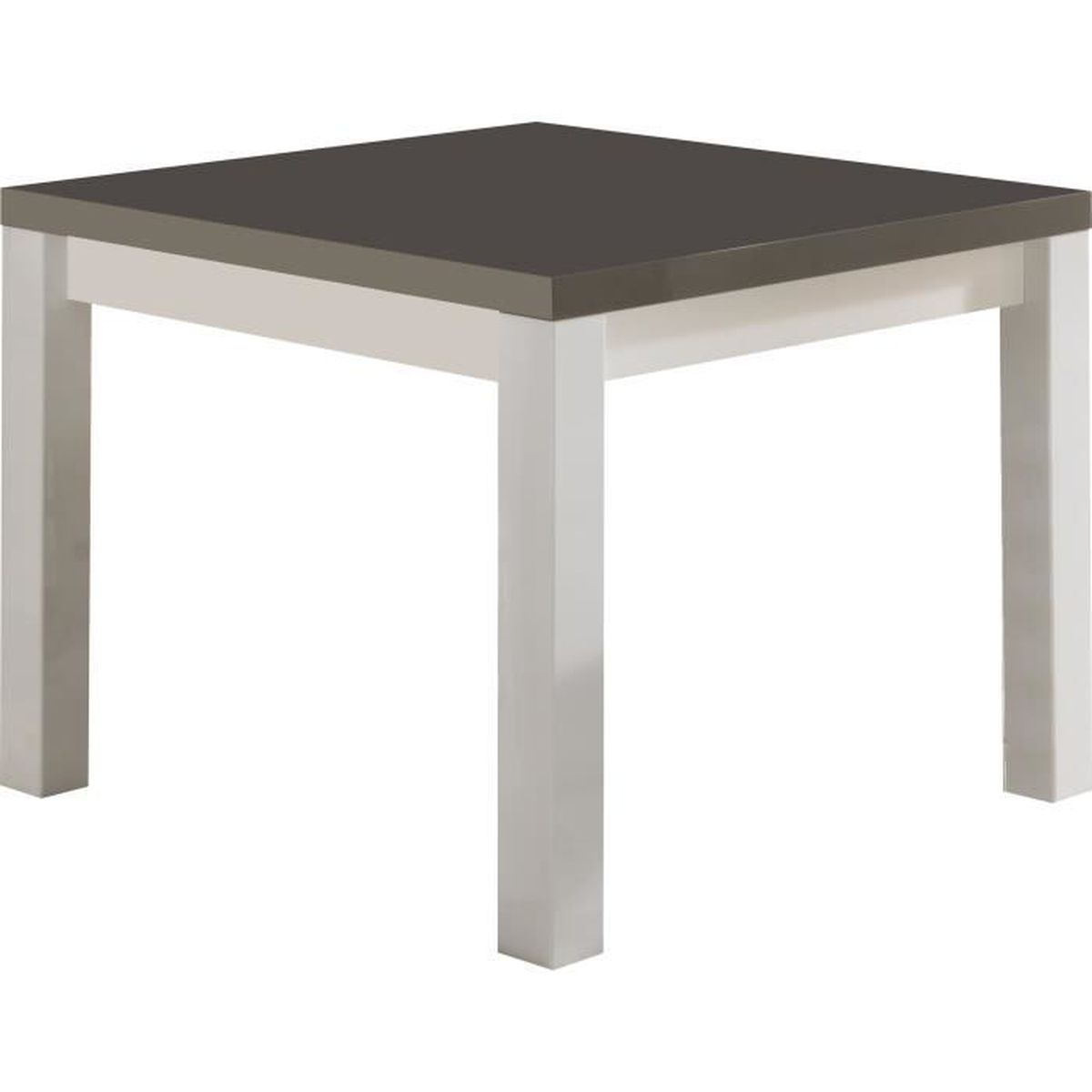 Table basse carr e design 100 cm blanc et gris laqu brillant blanc et gris - Table basse carree design ...