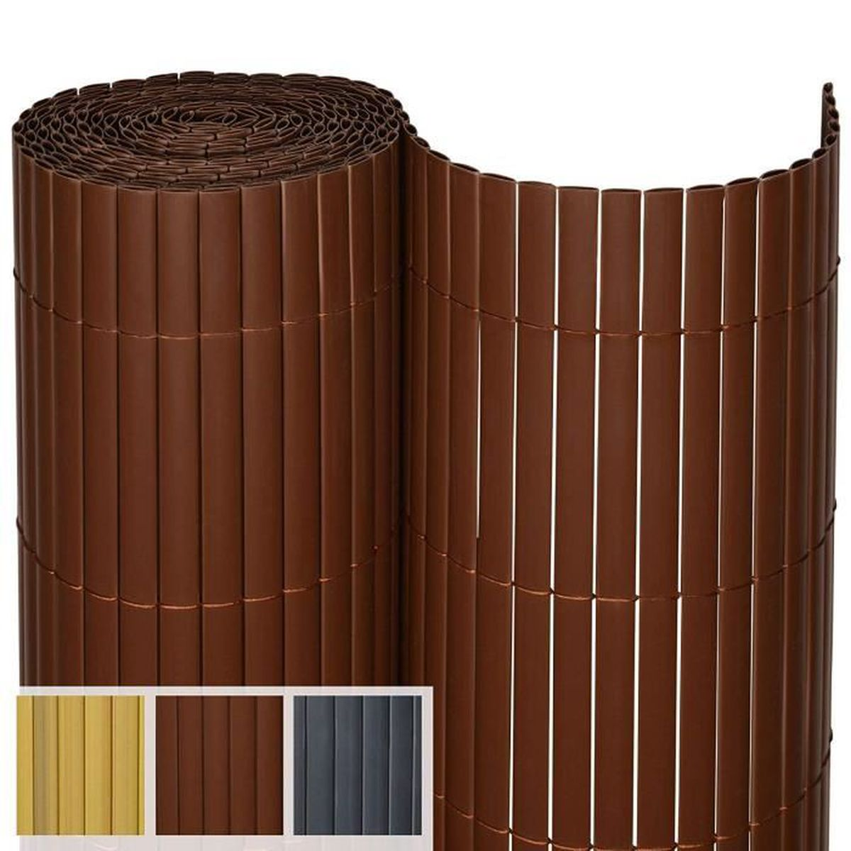 Hauteur Brise Vue Terrasse sol royal sol vision p14 - brise vue canisse pvc pour balcon & terrasse 140  x 300 cm marron