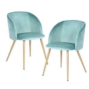 CHAISE YNEZ Lot de 2 chaises - Velours aqua - Style scand