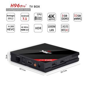 BOX MULTIMEDIA Box TV Android 7.1.1 H96 pro+ 4K Ultra HD - 32Go,